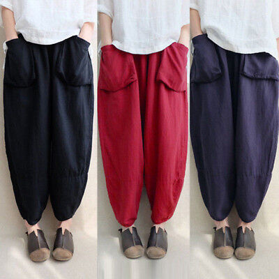 Women Oversize Harem Pants Loose Vintage Ethnic Plus Size WideLeg Trousers L