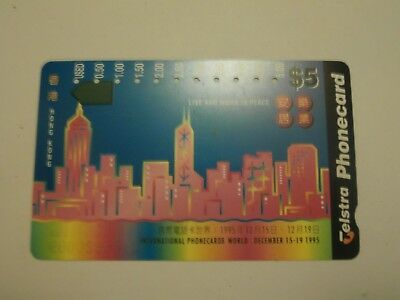 Telstra AUSTRALIA $5 PhoneCard Hong Kong International World 1995 RARE-FREE POST