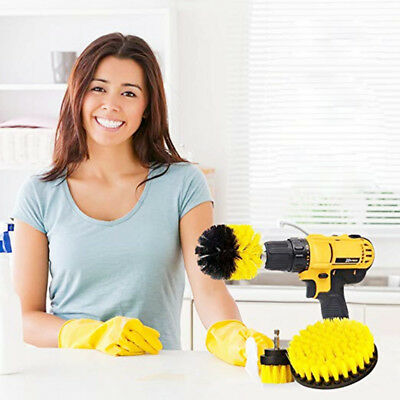 3 Piece Drill Brush Cleaning Attachment Set Scrubbers Cleaning Round Electric