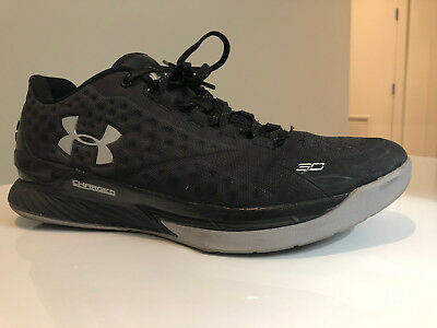 Pre-Owned UNDER ARMOUR CURRY ONE LOW (BLACK  GRAY  SILVER) Size 1a02dd7b8441