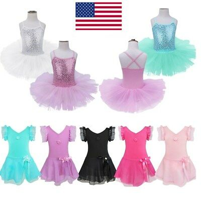 US Girls Sequined Camisole Ballet Dance Tutu Dress Ballerina Gym Leotard Costume