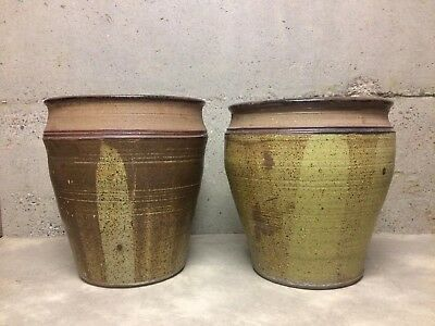 Vintage Studio Pottery Mcm Planter Set Earthy Mid Century Modern Architectural