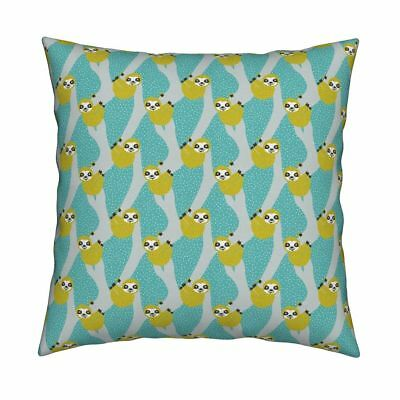 Sloths Sloth Tropical Green Throw Pillow Cover w Optional Insert by Roostery