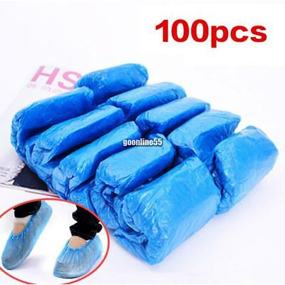 100Pcs Disposable Plastic Shoe Covers Overshoes Waterproof Boot Covers EA9
