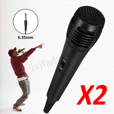 2 x 6,35 mm professionnel portable filaire Microphone portable Laptop PC Karaoke