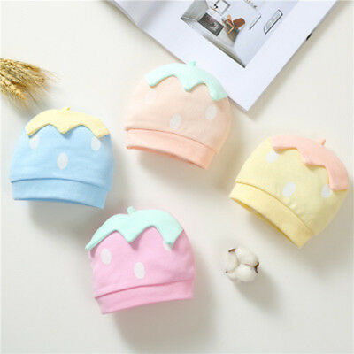 Lovely Baby Pure Cotton Hat Cartoon Strawberry Pattern Infant Warm Winter Hats
