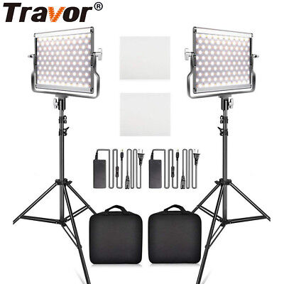 2 Packs Dimmable Bi-color LED Video Light Panel + Light Stands For Photography