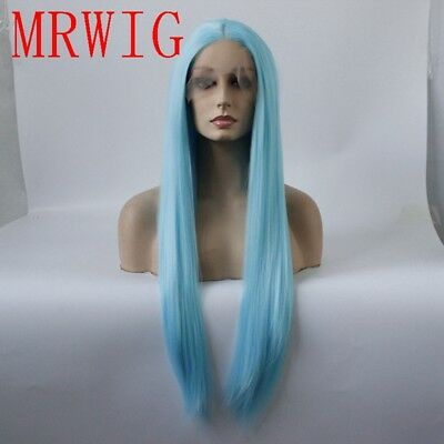 "AU 24"" Cosplay Synthetic Hair GlueLess Lace Front Wig Long Straight Sky Blue"
