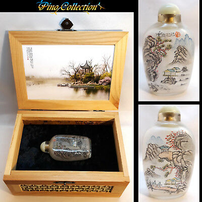 Lovely Old Antique Signed Chinese Landscape Inside Painted Glass Snuff Bottle
