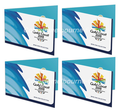 4x 2018 XXI Commonwealth Games 7 Coin Folder Set $1 + $2 Two Dollar Coins UNC