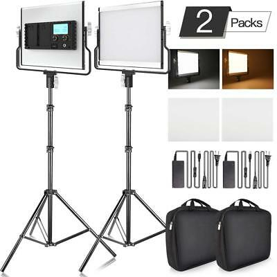 UK 2PCS/Kit L4500 Dimmable Bi-color LED Video Light Photo Studio Lighting Stands