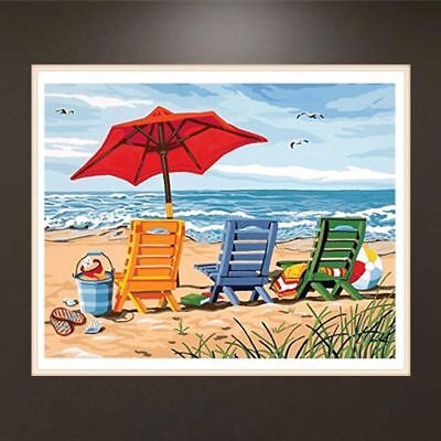 Frameless Seaside Painting DIY Digital Oil Paint By Numbers Wall Art Picture