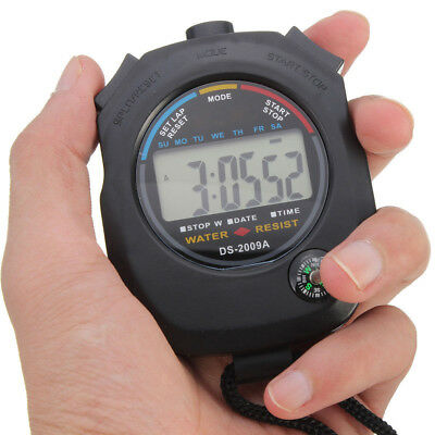 Handheld Digital LCD Sports Stopwatch Stop Watch Timer Alarm Counter Chronograph