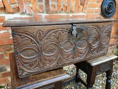 Mid 17th Century English Antique Oak Boarded Box or Bible Box