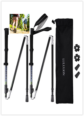 2x Anti Shock Collapsible Hiking Trekking Poles Walking Stick Camping BLACK AU