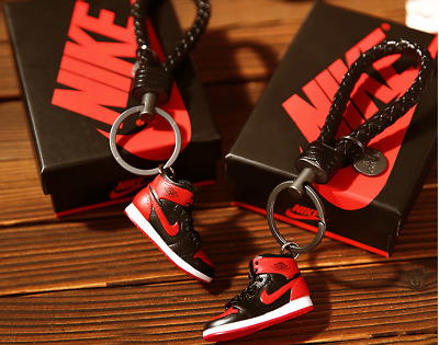 Mini Sneaker Shoes Keychain Braided Key Ring for Air Jordan 1 type as collection