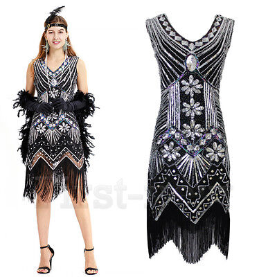 a178eef1351 1920s Flapper Dress Great Gatsby Vintage Charleston Fringe Party Dresses XS  0-2