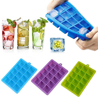 1X 15 Grids Silicone Square Ice Cube Tray Mould Mold Giant Maker DIY Kitchen Bar