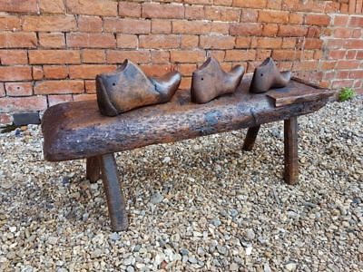 Rare 18th Century Primitive English Antique Cobblers Bench + 3 Shoe Lasts