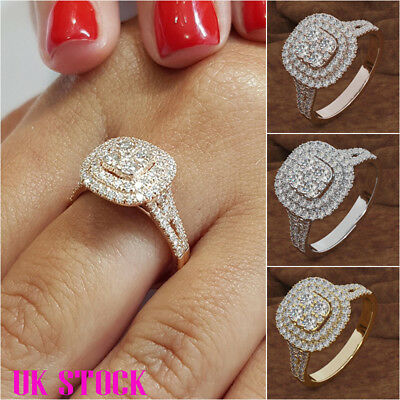 Women Ladies Rose Gold Silver Zircon Simulation Square Ring Wedding Engagement