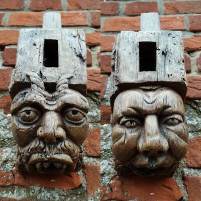 Rare Pair 15th Century Antique Carved Oak Corbels Depicting the Devil & Sinner