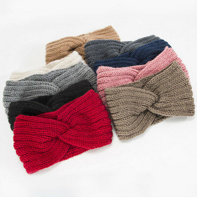 Women Winter Crochet Headband Knit Wool Cross Knot Hairband Ear Warmer Headwrap