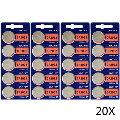 20Pcs SONY Lithium CR2032 Batteries 3V Coin Cell DL2032 for Calculators/Cameras