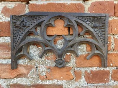 Late 15th English Antique Carved Oak Gothic Tracery Panel or Head, C.1470