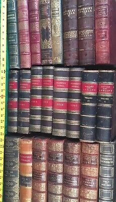 Red & Brown leather book lot Antique 4 1/2 FT Decor Office Den Shelf Display WOW