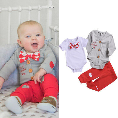 3PCS Baby Boy Girl 1st Valentine's Day Birthday Outfit Party Costume Romper Suit