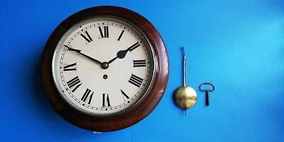 "#080 Antique Mahogany 10""dial Wire Fusee School/office Wall Clock"