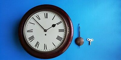 "#081 ANTIQUE 1900s 12"" DIAL MAHOGANY  FUSEE MOVEMENT STATION/OFFICE WALL CLOCK"