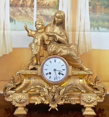 Lovely large antique 19th c French gilt twin figural 8 day bell mantle clock
