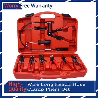 New 9pc Wire Long Reach Hose Clamp Pliers Set Fuel Oil Water Hose Auto Tools Kit