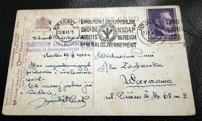 Ww2 German Used Postcard From Krakau To Warschau 1943 Cancelled Nsdap