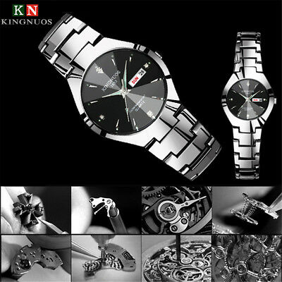 KINGNUOS Fashion Stainless Steel Week Date Waterproof Sport Quartz Wrist Watch