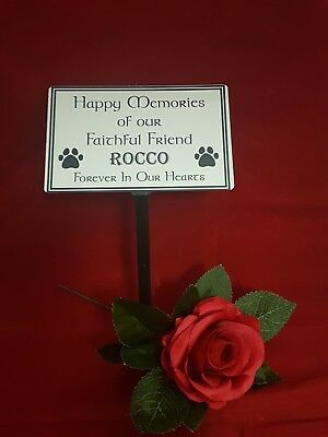 Pet Memorial Stake Grave/Tree Marker Cremation with Personalised Plaque