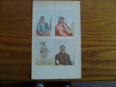 1841 Lithographs-Delaware Indians by George Catlin-Monegan Chief