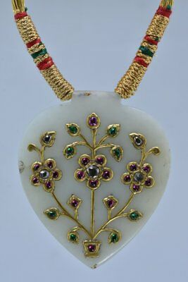 VINTAGE MUGHAL  JADE PENDANT STUDDED WITH DIAMOND EMERALD RUBY 24 Kt REAL GOLD
