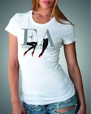 Emporio Armani Womens White T shirt Slim fit size S*M,Stretching jersey