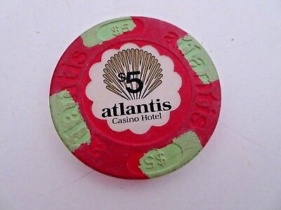 Atlantic City NJ Atlantis Casino $5 chip  red and green