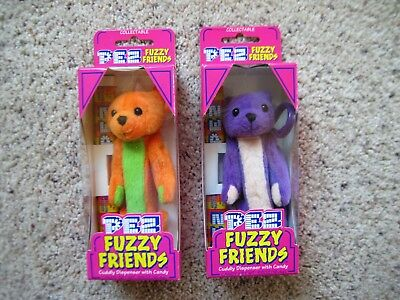 "FUZZY FRIENDS PEZ 2 large Dispensers 5"" TJ BEAR +GILBERT BEAR NIB New Box 2000"