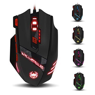 ZELOTES T90 Mouse da Gioco 9200 DPI USB Wired Gaming Mouse con 6 LED col(T90)