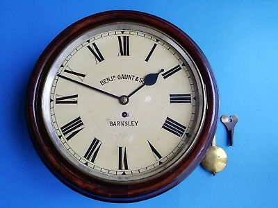 #083ANTIQUE B. GAUNT BARNSLEY MAHOGANY WH&Sch FUSEE WALL CLOCK *FINAL REDUCTION*