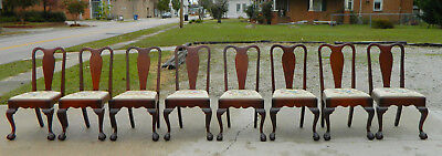 8 Solid Mahogany Ball and Claw Foot Chippendale Dining Chairs circa 1900