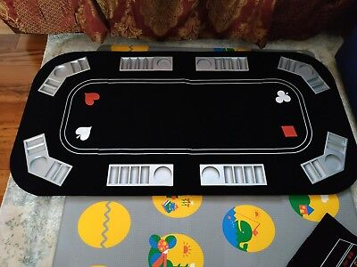 Folding Four Fold 8 Player Poker Table Top with Black Jack and Craps Exellent.