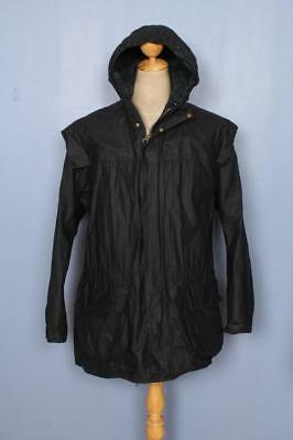 BARBOUR Durham Hooded Waxed Jacket Navy Size 44 Large