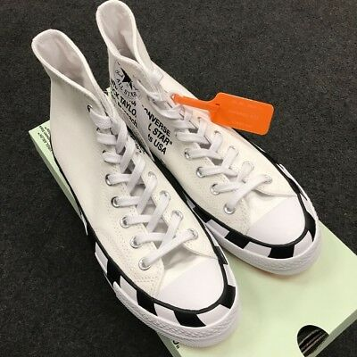 NEW CONVERSE X OFF WHITE Chuck 70 Stripe White 163862C UK7.5