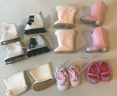"""18"""" Doll shoes Boots Ice Skates Roller Blades Sneakers lot fits American Girl"""