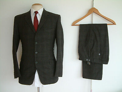 "1960's MOD SUIT..36"" x 30""..TAILOR MADE..SLIM LAPELS/ LEG..BUTTON FLY..SCOOTER"